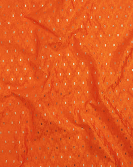 Orange Silk Jacquard  Fabric - Fabriclore.com