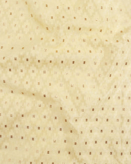 Light Yellow Silk Jacquard  Fabric - Fabriclore.com