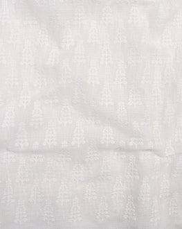 White Booti Embroidered Cotton Kota Doria Fabric - Fabriclore.com