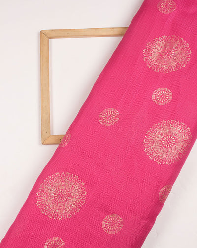 Fuchsia Gold Traditional Foil Screen Print Kota Doria Fabric - Fabriclore.com