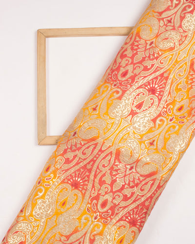 Yellow Gold Traditional Foil Screen Print Kota Doria Fabric - Fabriclore.com