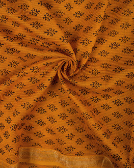 Black/Orange Bagh Print Hand Block Maheshwari Silk Fabric