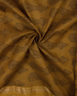 Brown/Black Bagh Print Hand Block Maheshwari Silk Fabric - Fabriclore.com