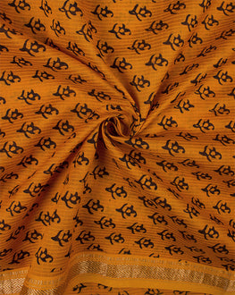 Orange/Black Bagh Print Hand Block Maheshwari Silk Fabric - Fabriclore.com