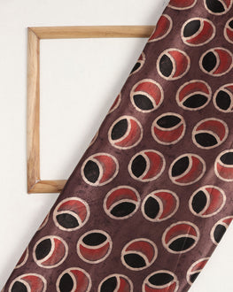 Brown & Red Geometric Screen Print Mashru Silk Fabric - Fabriclore.com
