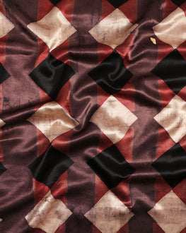 Brown & Black Geometric Screen Print Mashru Silk Fabric - Fabriclore.com