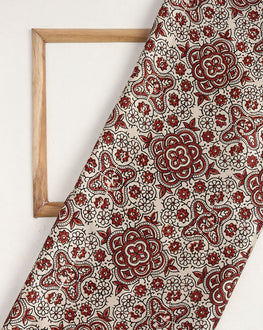 Beige & Red Traditional Hand Block Mashru Silk Fabric - Fabriclore.com