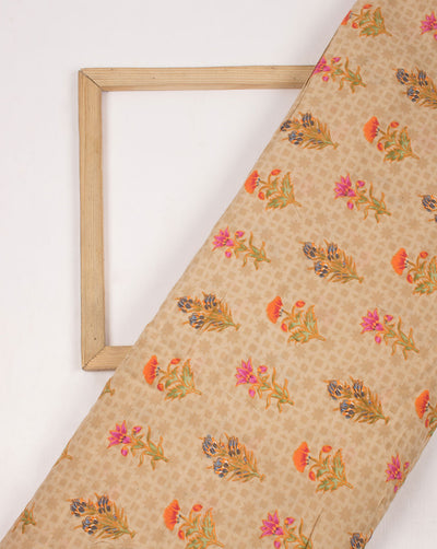 Beige Orange Screen Print Viscose Muslin Fabric - Fabriclore.com