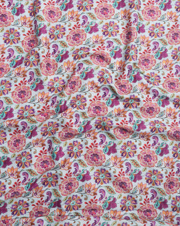Blue & Red Floral Digital Print Muslin Fabric - Fabriclore.com
