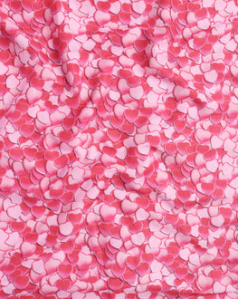 Pink & White Objects Digital Print Muslin Fabric - Fabriclore.com