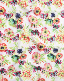 White & Green Floral Digital Print Muslin Fabric - Fabriclore.com
