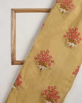 Yellow & Pink Floral Embroidery Muslin Fabric - Fabriclore.com