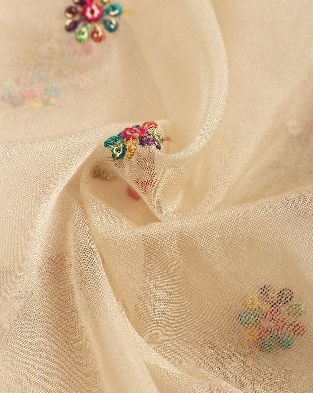 Beige Floral Organza Tissue Embroidery Fabric - Fabriclore.com