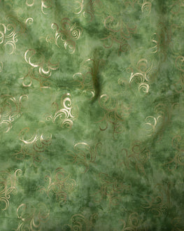 Green/Gold Abstract Screen Print Organza Fabric