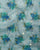 Blue & Green Floral Foil Screen Print Organza Tissue Fabric - Fabriclore.com