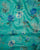 Turquoise Blue Floral Foil Checks Screen Print Organza Tissue Fabric - Fabriclore.com