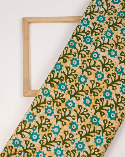 Green Off-White Floral Hand Block Wax Batik Rayon Fabric - Fabriclore.com