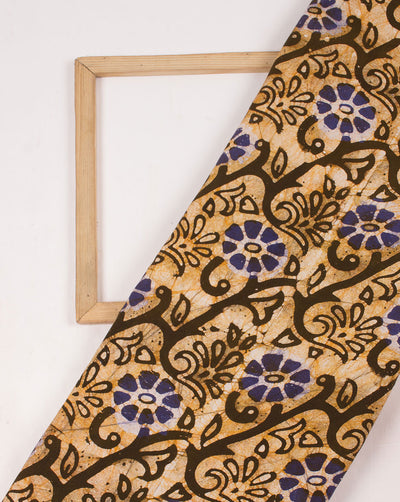 Brown Off-White Floral Hand Block Wax Batik Rayon Fabric - Fabriclore.com