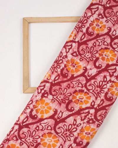 Red Off-White Floral Hand Block Wax Batik Rayon Fabric - Fabriclore.com