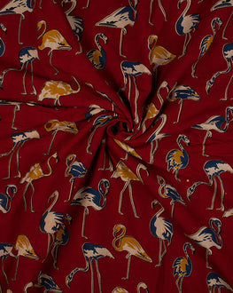 Red/Yellow Screen Printed Animal Rayon Kalamkari Fabric - Fabriclore.com