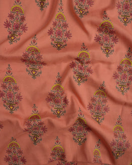 Salmon screen Print Rayon Fabric
