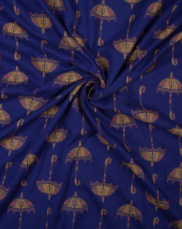 Royal Blue/Yellow Objects Screen Print Rayon Fabric - Fabriclore.com