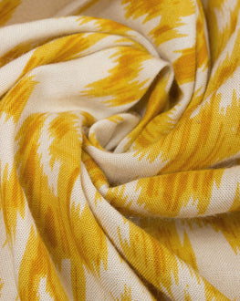 Yellow/Off-White Discharge Traditional Rayon Fabric