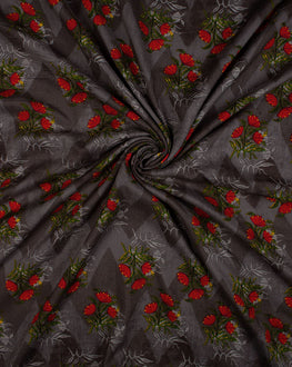 Grey/Green Floral Screen Print Rayon Fabric - Fabriclore.com