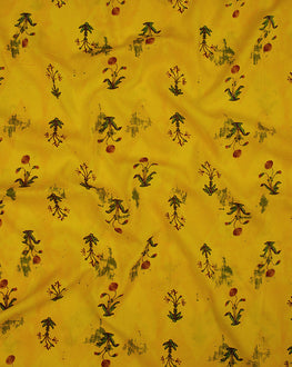 Yellow/Green Floral Screen Print Rayon Fabric - Fabriclore.com