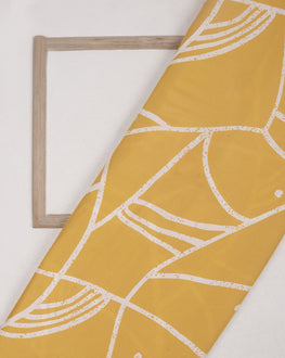 Yellow & White Abstract Screen Print Rayon Fabric ( Width 56 Inch ) - Fabriclore.com