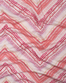 Off-White & Salmon Chevron Screen Print Rayon Fabric ( Width 56 Inch ) - Fabriclore.com