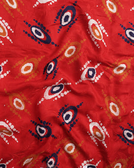 Red & Yellow Abstract Screen Print Rayon Jacquard Fabric - Fabriclore.com