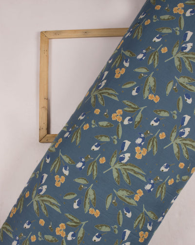 Turquoise Green Leaf Pattern Screen Print Rayon Fabric - Fabriclore.com