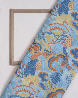 Blue & Yellow Floral Digital Print Slub Chanderi Fabric - Fabriclore.com