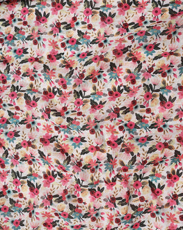 Off-White & Pink Floral Digital Print Slub Chanderi Fabric - Fabriclore.com