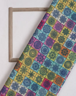 Multi-Color Geometric Digital Print Slub Chanderi Fabric - Fabriclore.com