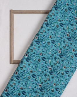 Teal & Green Floral Digital Print Slub Chanderi Fabric - Fabriclore.com