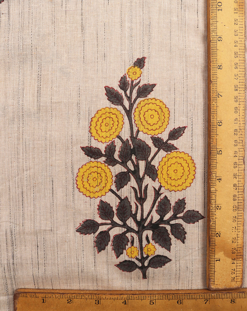 Beige & Yellow Floral Mughal Hand Block Slub Cotton Fabric - Fabriclore.com