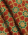 Green & Orange Floral Screen Print Slub Cotton Fabric - Fabriclore.com