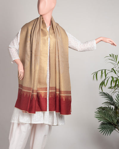 Traditional Woven Jacquard Zari Work Wool Shawl - Fabriclore.com