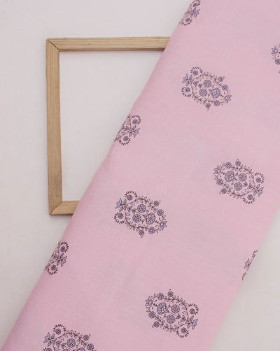 Light Pink Black Floral Photochromic Print Slub Rayon Fabric - Fabriclore.com