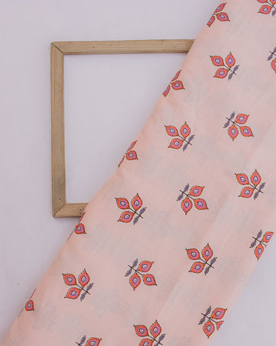 Ivory Pink Off-White Floral Photochromic Print Slub Rayon Fabric - Fabriclore.com