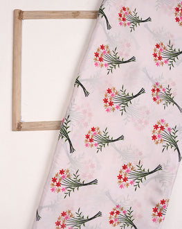 White/Green Floral Digital Print Viscose Crepe Silk Fabric