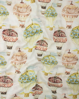 Off-White & Yellow Viscose Muslin Objects Digital Printed Fabric - Fabriclore.com