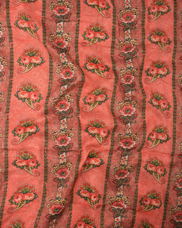 Salmon/Red Viscose Muslin Floral Digital Printed Fabric - Fabriclore.com