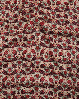 Off-White & Maroon Digital Floral Viscose Fabric - Fabriclore.com