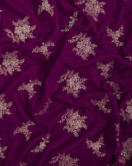 Purple Floral Embroidery Micro-Velvet Fabric - Fabriclore.com