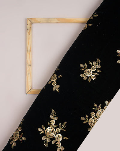 Green Gold Floral Zari Sequins Work Embroidery Velvet Fabric - Fabriclore.com