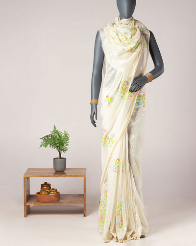 Floral Pattern Hand Applique Chanderi Saree With Blouse - Fabriclore.com
