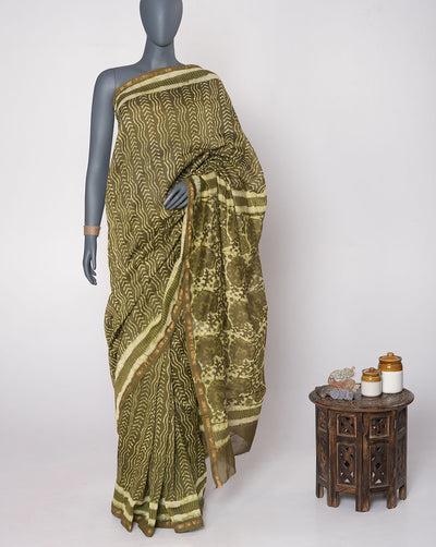 Olive Green Off-White Chevron Pattern Hand Block Zari Border Chanderi Saree With Blouse - Fabriclore.com